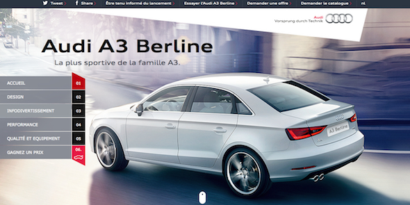 the audi a3 berline a dynamic and elegant website tailored to fit the image of a new top car. Black Bedroom Furniture Sets. Home Design Ideas